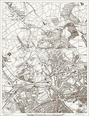 Hampstead Golders Green Kilburn Map 1888 Gtr London #8