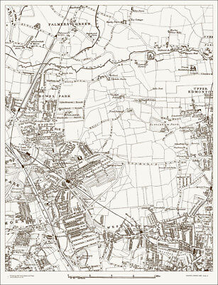 Palmers Green, West Green Map 1888 - Gtr London #4