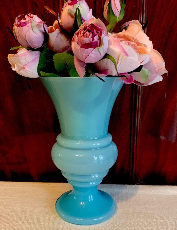 Antique Blue Opaline Glass Vase