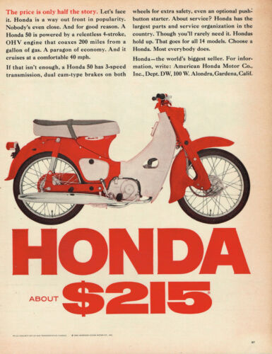 1965 HONDA 50 SCOOTER VINTAGE ORIGINAL LAMINATED AD ART