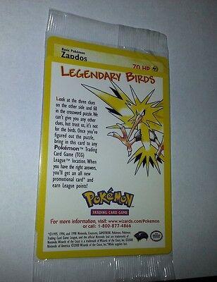 Pokemon Legendary Bird Promo ZAPDOS Card Mint SEALED NEW Collectible