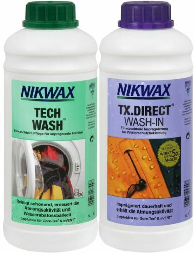 2x 1 Liter Nikwax Tech Wash + TX Direct Goretex- etc Waschmittel & Imprägnierung
