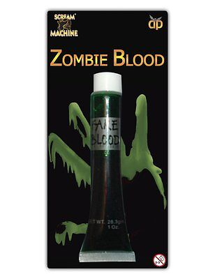 artificial Halloween Verde sangre de zombi Cara Maquillaje Diversión Disfraces](Disfraces Halloween Zombie)