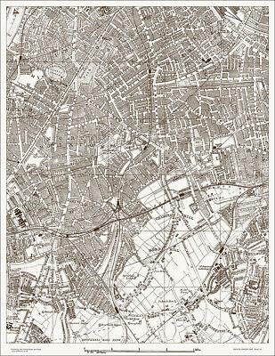 Camberwell, Brixton, Walworth Map 1888 Gtr London #28