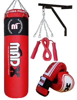 MADX 5 Piece 4ft Filled Heavy Hanging Punch Bag,Gloves,Chain,Bracket,Kickbag