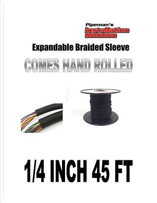 """1/4"""" 45FT BRAIDED EXPANDABLE SLEEVING TECH FLEX HARNESS LOOM  WIRE COVER BLACK"""