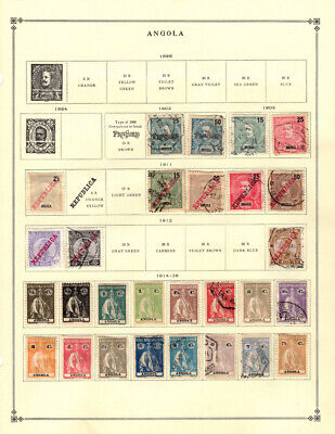 ANGOLA, an Unpicked Collection of 197 Stamps on Scott International Pages.
