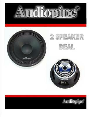 "1 Pair 8"" 500W Full Range Loud Speakers Low Mid Range Audiopipe APMB-8-B"