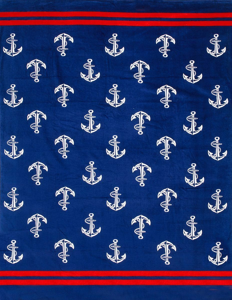 Nautical Anchor Brazilian Velour Beach Towel for two - Made
