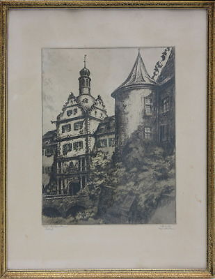Bad Mergentheim - Schloss, Original-Radierung, signiert Reuter