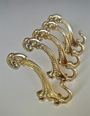 (Set of 5 large Edwardian brass ram head coathook wall door hanger coat hook AL77)