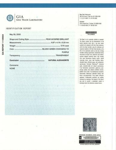 GIA REPORT 11105924 NATURAL FINE ALEXANDRITE CHRYSOBERYL BLUISH GREEN TO PURPLE