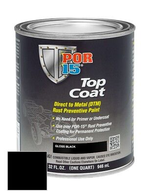 Por 15 45804 Top Coat Gloss Black  Quart