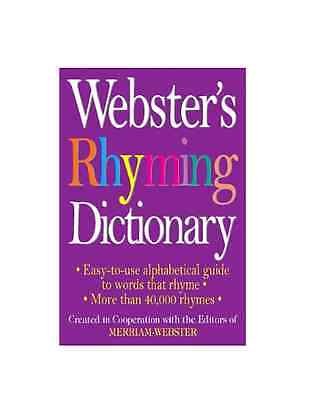 Websters Rhyming Dictionary By Paperback Book  English  Free Shipping