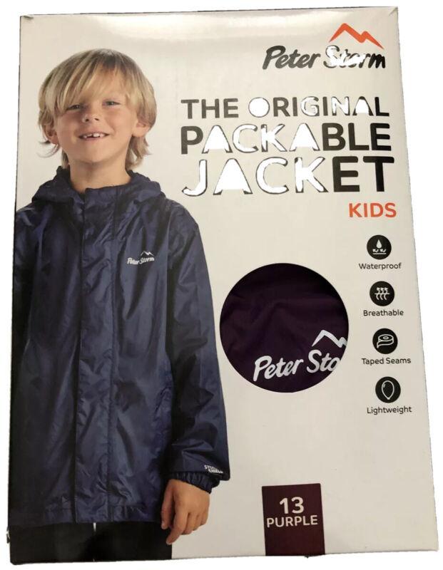 Kids Peter Storm Packable Waterproof Jacket Purple Age 13