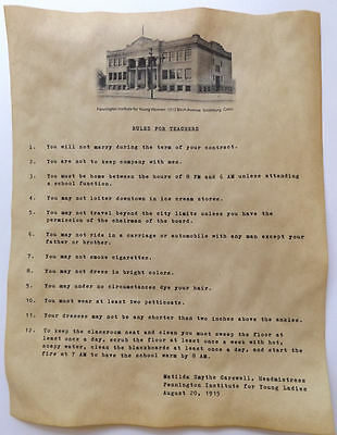 1915 Rules for Teachers Poster. Feel free to customize. novelty.