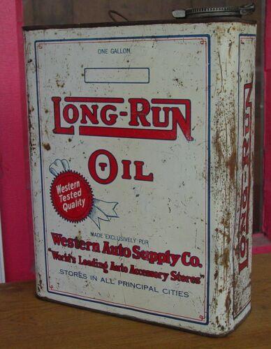 Garage Fresh! LONG-RUN OIL -- Western Auto Supply -- 1 GALLON TIN CAN