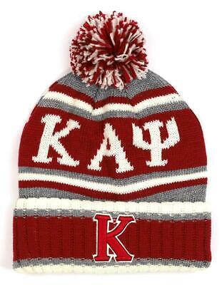 Kappa Alpha Psi Fraternity Pom Beanie- Crimson/Gray-New!