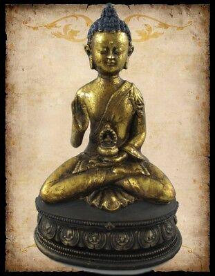 Buddha sitzende Figur Skulptur Sockel Feng Shui Hausaltar H.23x15cm Polystein