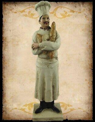 Chefkoch Bäcker Aufstellfigur Skulptur Geschenk in Polystein H.38x10cm Baguette