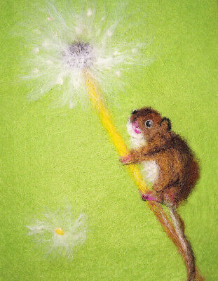 Dormouse & Dandelion - Needle Felted Card - Original Artwork - not a print