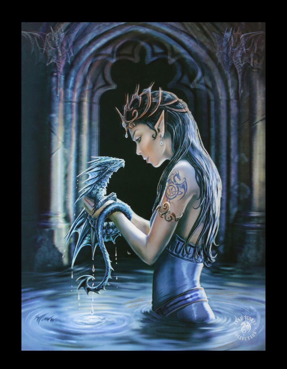 3D Bild mit Drache - Water Dragon - Anne Stokes Fantasy Foto Leinwand Poster