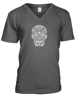 Skull Floral Sugar Outline Heart Dia De Los Muertos Day Of Men's V-Neck T-Shirt