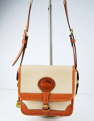 Buckle Flap Bag (Dooney Buckle Flap Shoulder Bag Great  AWL Bag Ivory Tan  Classic Nice Condition)