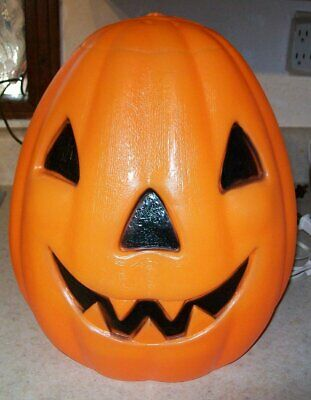 "vintage Halloween blow mold pumpkin Empire 13"" lighted"