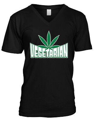 Vegetarian Marijuana Leaf - Pot Smoke Green Funny Sayings Mens V-neck T-shirt - Green Sayings