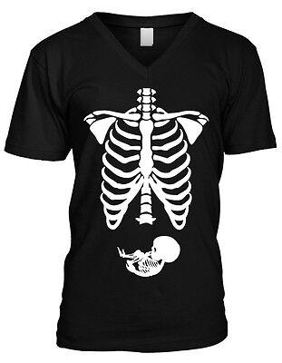 Halloween Pregnant Shirts (Pregnant Skeleton Bones Halloween Pregnancy Costume Funny Mens V-neck)