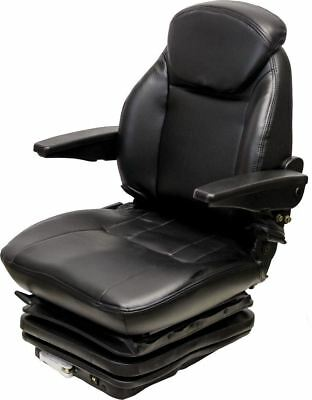 Black Vinyl Seat W Mech Suspension With 10 14 Side To Side Mount For Tractors