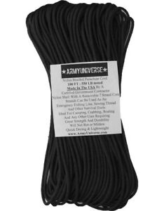 Black 550LB 100% Nylon Paracord Military Type III Cord Rope 100 Feet - USA Made