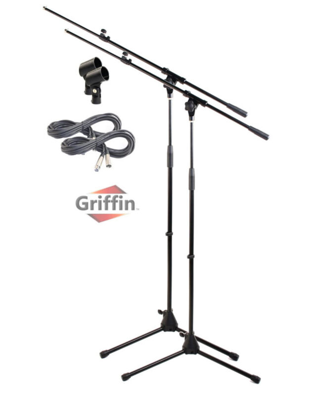 Microphone Boom Arm Stand 2 Pack Holder XLR Cable Mic Clip Stage Studio Griffin