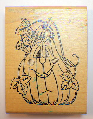 Holly Berry House Halloween Fall Pumpkin Fun Wooden Rubber Stamp - Holly Halloween