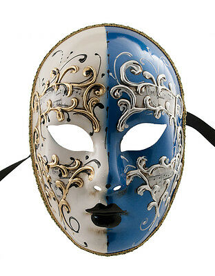 Mask Venice Volto Day Night Blue and Gold Authentic 930 VG 21