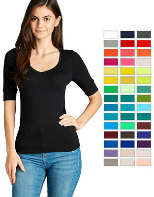 Womens Basic V Neck Elbow Sleeve T Shirt Short Sleeve Stretchy Top Reg   Plus