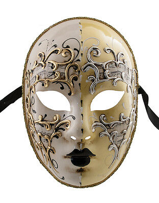 Mask from Venice Volto Day Night Yellow And Golden Authentic 663 V37
