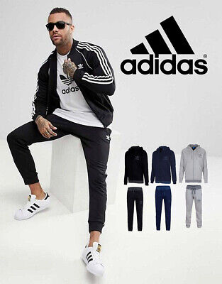 Original Adidas Mens Hoodie Bottoms Full Tracksuit Gym Joggers Top Zip Sports
