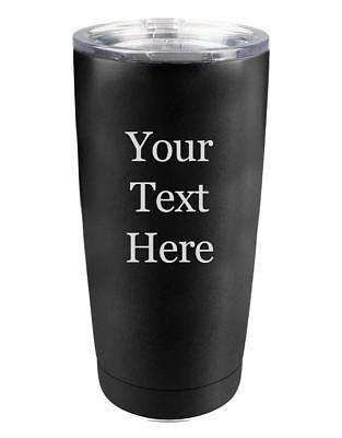 Custom Polar Coffee 20 oz Vacuum Insulated Tumbler Mug with Clear Lid Black New