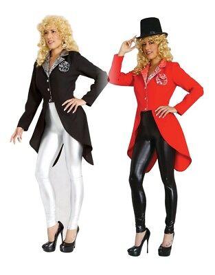 Damen Frack Gehrock  rot oder schwarz mit Blume Damen Kostüm Karneval Fasching (Schwarzer Gehrock Kostüm)
