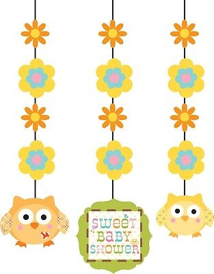 3 x Boy Girl Yellow Owl Baby Shower Party Happy Tree Hanging Cut Out Decoration (Happy Tree Baby Shower Decorations)