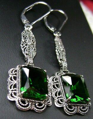 *Emerald* Sterling Silver Festoon Victorian Filigree Earrings {Made to Order}