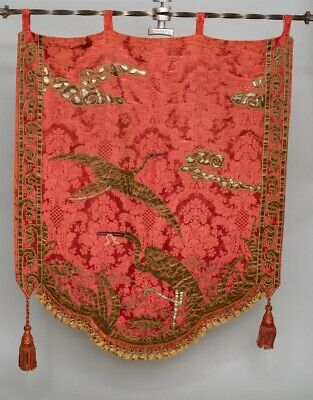 Antique Large Embroidered Silk Wall Hanging Family Crest Japanese Cranes 42