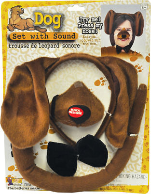 Morris Costumes Dog Headband Nose Ear Sound Bow Set Brown Accessory Kit. FM61675