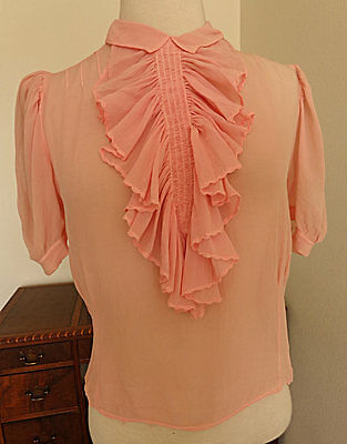 Vintage 40s 50s Sheer Crepe Blouse Shirt Top M Bust 38