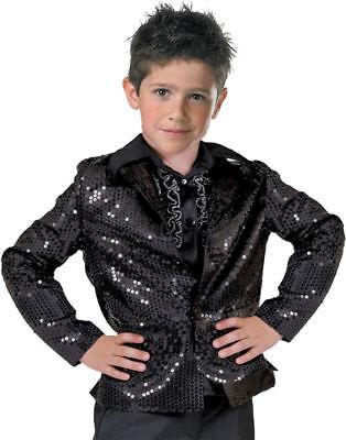 Morris Costumes Boys Long Sleeve Disco Child Sequin Jacket Black 8-10. - Boys Disco Costumes