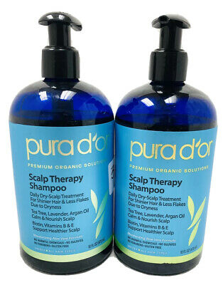 (2) PURA D'OR Scalp Therapy 16 OZ Shampoo SHIPPING