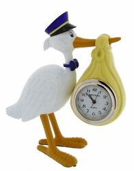 Gift Time Products Unisex Stork Carrying Baby Mini Clock - White/Gold