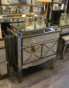 Venetian Mirrored Glass Gold Bronze Modern 1 Drawer Sideboard Cabinet Cupboard